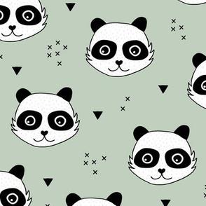 Kawaii Panda minimalist animals Scandinavian style kids nursery design mint green