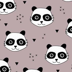 Kawaii Panda minimalist animals Scandinavian style kids nursery design mauve pink girls