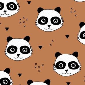 Kawaii Panda minimalist animals Scandinavian style kids nursery design burnt orange rust brown