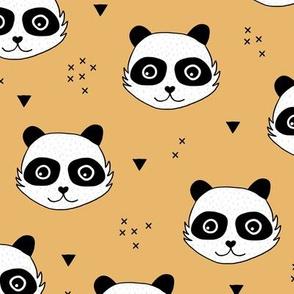 Kawaii Panda minimalist animals Scandinavian style kids nursery design honey yellow sunshine