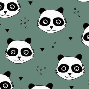 Kawaii Panda minimalist animals Scandinavian style kids nursery design pine trees green christmas