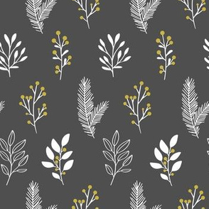 Christmas Branches in White, Black and gold