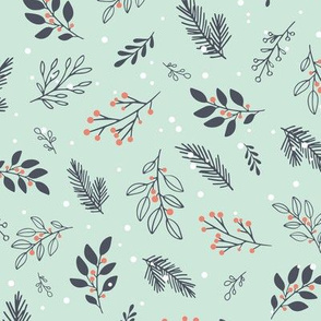 Christmas Branches in Navy, Red and Mint