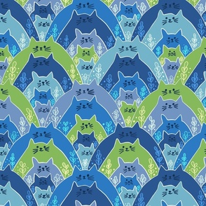 Cats Cats Cats in blue and green (m)