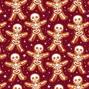 Gingerbread Skeletons Maroon 3/4 Size