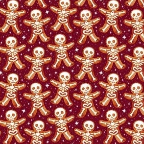Gingerbread Skeletons Maroon 1/2 Size