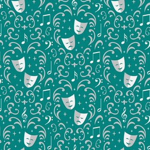 Theater Damask (Teal Small)