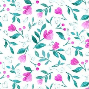 Pink Floral Toss on White