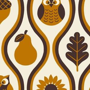 Retro Fall Owl -Rust -Large