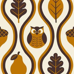 Retro Fall Owl - Rust