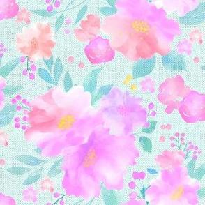 Soft Pink Roses on an Aqua ground.
