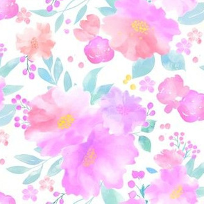 Soft Pink Floral on White