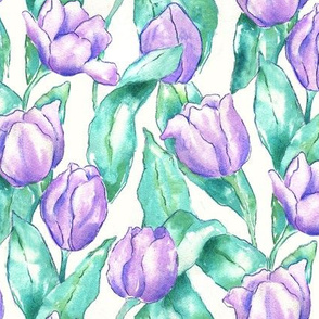 Purple Tulips with Teal Leaves