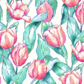 Red Tulips on Teal Leaves