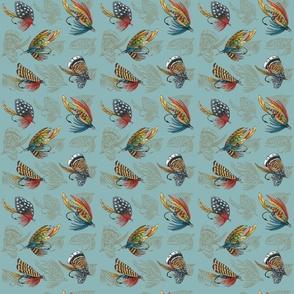 Fishing Flies Pattern on aqua