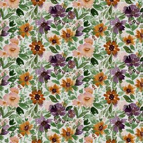 Autumn Loose Watercolor flowers linen texture