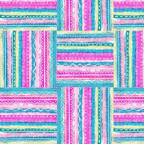 Art Deco, Quilters squares in fuchsia, pink, turquoise, lime and beige