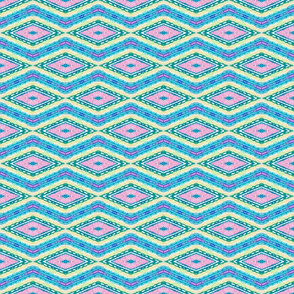 Zig Zags in turquoise, pinks, greens and beiges