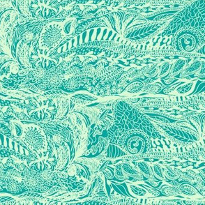 Organic Landscape of Aqua Frost on Alpine Teal - Small Scale