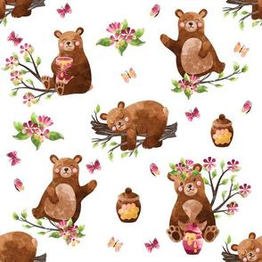 Honey Bears | Pink | Brown on White