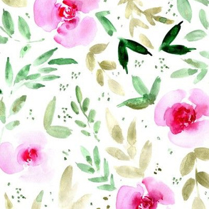 Sweet watercolor garden - painted roses and leaves for nursery baby girl home decor - flowers