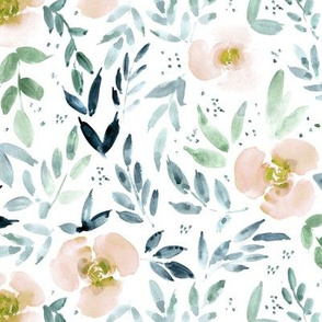 Sweet watercolor garden in blush pink and indigo -- painted roses and leaves for nursery baby girl home decor - flowers