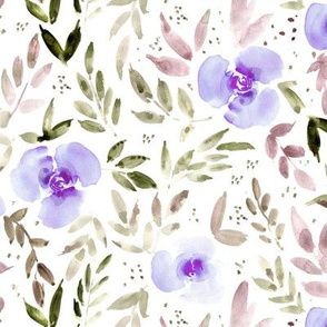 Orchid violet sweet watercolor garden - painted roses and leaves for nursery baby girl home decor - flowers