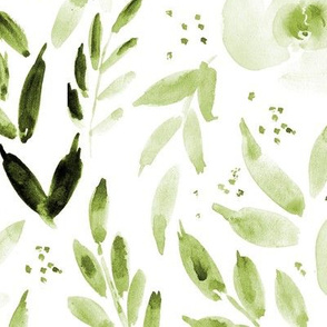 Olive green sweet watercolor garden - painted roses and leaves for nursery baby girl home decor - flowers 331