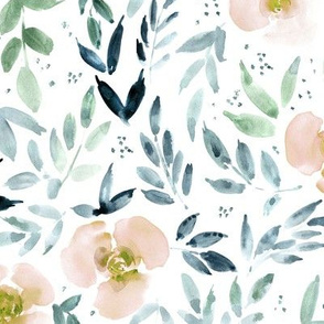 Apricot sweet watercolor garden - painted roses and leaves for nursery baby girl home decor - flowers