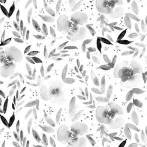 Noir sweet watercolor garden - painted roses and leaves for nursery baby girl home decor - flowers