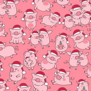 christmas pigs Santa hats pink