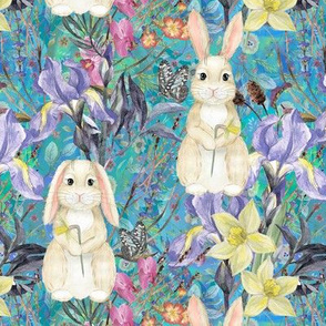 SMALL SPRING BUNNIES AND FLOWERS IRIS AND NARCISSUS TURQUOISE BLUE EASTER MEADOW FLWHT