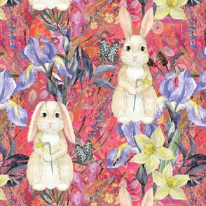 small SPRING BUNNIES AND FLOWERS IRIS AND NARCISSUS PINK CORAL EASTER MEADOW FLWHT