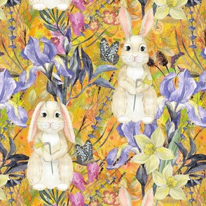 small SPRING BUNNIES AND FLOWERS IRIS AND NARCISSUS YELLOW FLWHT EASTER MEADOW