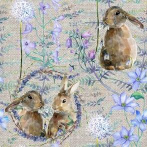 watercolor bunnies on canvas spring flowers ecru beige FLWRHT