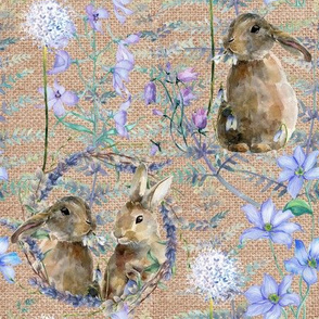 watercolor bunnies on canvas spring flowers natural FLWRHT