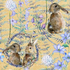 watercolor bunnies on canvas spring flowers yellow FLWRHT