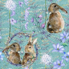 watercolor bunnies on canvas spring flowers turquoise FLWRHT