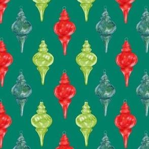 retro glass christmas ornaments on teal