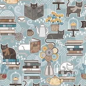 Cozy Cat Cafe Pine Green Mini- Hygge Cats- Small Scale- Face Mask