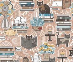 Cozy Cat Cafe Siena Small- Hygge Autumn Cats- Small Scale-  Fall- Cute Pet-Pets Reading