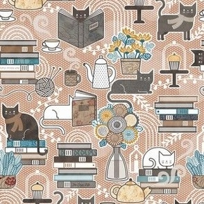 Cozy Cat Cafe Sienna Mini- Hygge Autumn Cats- Small Scale- Face Mask- Fall