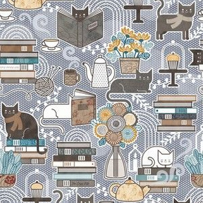 Cozy Cat Cafe Slate Mini- Hygge Cats- Small Scale- Face Mask