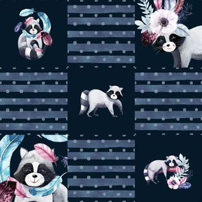 """6"""" cheaterquilt raccon blue dots and stripes flwrht"""
