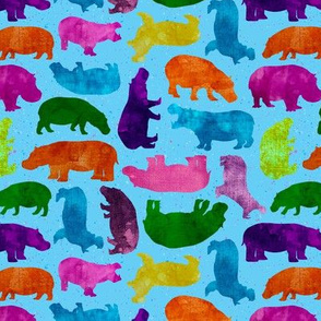Colorful Happy Hippo Silhouettes