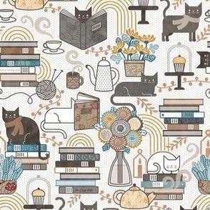 Cozy Cat Cafe White Mini- Hygge Autumn Cats- Small Scale- Face Mask