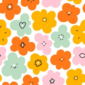 Simple fun abstract floral doodle pattern, big scale