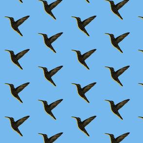 Hummingbird block print blue black yellow