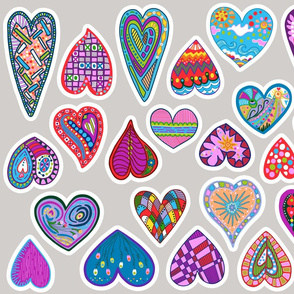 30 hearts for applique or patches fat quarter