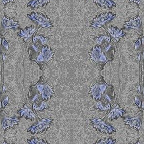 Silver crosses-floral blue